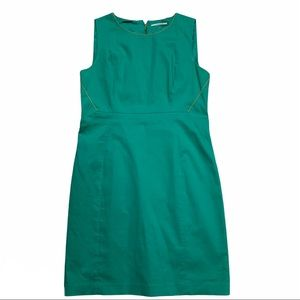 T TAHARI green sleeveless dress with gold accents